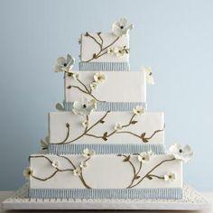 Seersucker wedding cake ( kinda like it without the seersucker band) Cherry Blossom Cake, Cherry Blossom Wedding, Cherry Blossoms, Flower Blossom, Blue Wedding, Spring Wedding, Dream Wedding, Farm Wedding, Floral Wedding