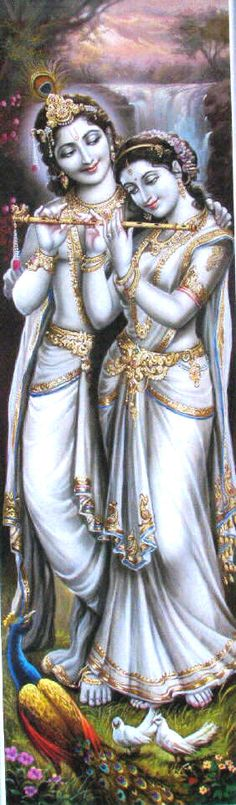 The Divine-Love: Radha and Krishna; Radha trying to learn playing on Krishna's…
