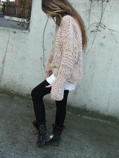 Pinkish cream oversized grunge sweater approximately 4  by ileaiye,
