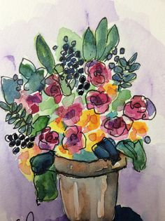 Beautiful Bouquet Of Flowers Watercolor Card / Hand Painted