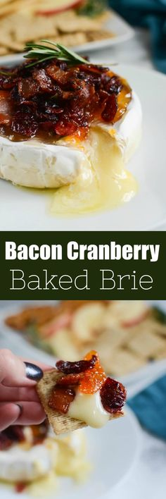 Bacon Cranberry Baked Brie - the perfect holiday appetizer! Brie topped with bacon, dried cranberries, apricot preserves, fresh rosemary and then baked until melty and delicious! Serve with crackers or apple slices at your next holiday party! Finger Food Appetizers, Holiday Appetizers, Yummy Appetizers, Appetizer Recipes, Holiday Recipes, Snack Recipes, Cooking Recipes, Cheese Appetizers, Avacado Appetizers