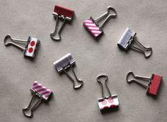 diy washi tape covered binder clips