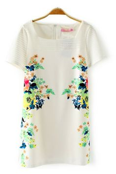 Hollow-out Sleeve Floral Printing Dress - 6ks.com
