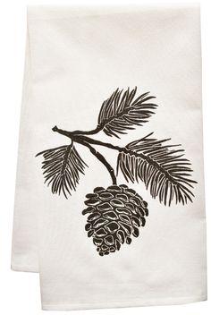 Artgoodies Organic Block Print Pinecone towel & Reviews   Wayfair