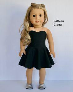 18 pulgadas muñeca AG muñeca ropa Vestido negro hecho a la