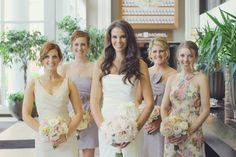 New Jersey bride Alison decked each of her bridesmaids in a different cut, color and pattern J. Crew dress for her summer wedding and it looked AWESOME!
