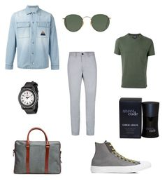"""Greenery ss17"" by amira-issa on Polyvore featuring Topman, Woolrich, Iceberg, Converse, La Portegna, Ray-Ban, Giorgio Armani, Victorinox Swiss Army, men's fashion and menswear"