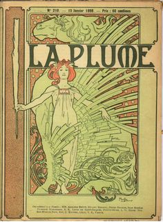 Cover composed by Mucha for the French literary and artistic 'Review La Plume,' 1898.