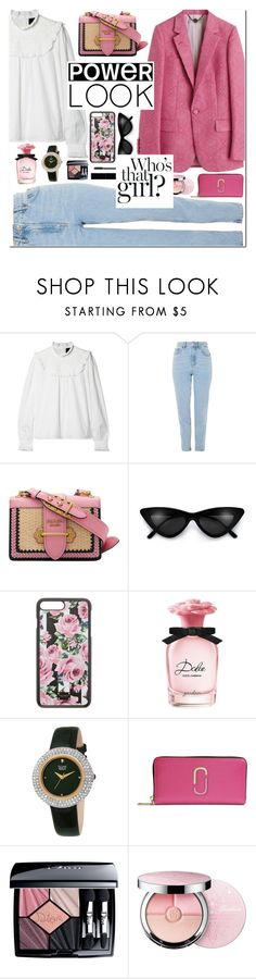 """""""Casual"""" by alexa-girl2 ❤ liked on Polyvore featuring Needle & Thread, Topshop, Prada, Dolce&Gabbana, bürgi, Marc Jacobs, Christian Dior, Guerlain, Gucci and Pink"""