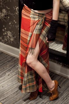 Ralph Lauren; Rugby, Aberdare Plaid Wool Skirt.