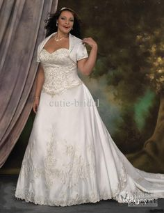 2c1b155ca4a Wholesale Sexy Sweetheart Embroidery Lace Over Satin Plus Size Wedding Dress  With Short Sleeve Jacket Super Long Train A line Bridal Ball Gown For Fat