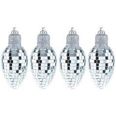 Silver Disco Ball Lightbulb Ornaments