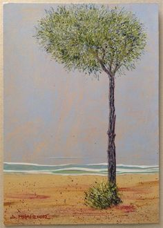 Milionis - TREE - Signed Painting on Thick Paper Mount Board Greek Art #Modernism