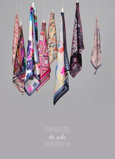 Colección de Pañuelos de Seda · Moniquilla · Prints & Pattern Design Fabric Photography, Clothing Photography, Fashion Photography, Scarf Display, Scarf Design, Summer Scarves, How To Wear Scarves, Scarf Hairstyles, Neck Scarves