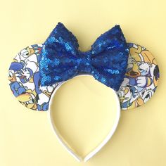 Angry Donald Duck Printed Ears | Mouse Ears | Minnie Ears | Sparkle Sequin Bow | Headband | Handmade Bow by VivaLaMouse on Etsy https://www.etsy.com/listing/511179195/angry-donald-duck-printed-ears-mouse