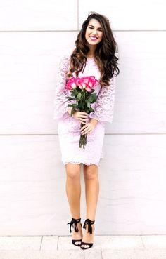 8e94baa154d Lilac Bell Sleeve Lace Dress. Spring Dress. Dress for Church. Modest  Fashion.