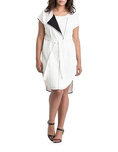 Carmakoma Plus Nunki Wrap-Effect Dress I love the all white look when it's zipped up. White Plus Size Dresses, Preppy Dresses, Wrap Around Dress, Plus Size Designers, Plus Size Lingerie, Beautiful Outfits, Short Sleeve Dresses, Short Sleeves, Dresses For Work