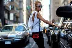 Elina Halimi on a street style photo taken during New York Fashion Week Spring Summer 2014.-- the back