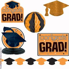 Image detail for -orange graduation decorating kit orange category party decorations ...