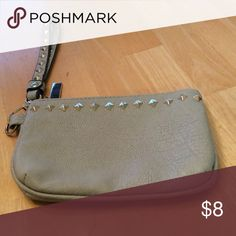 Wristlet Light gray with studs Bags Clutches & Wristlets