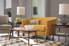 La-Z-Boy Deco Premier Loveseat | The scale of this modern sofa means it'll fit right into smaller spaces. Plus, PIN TO WIN an ottoman! Get contest details at http://houseandhome.com/la-z-boy | #LaZBoy #LoveSeat #Sofa #LivingRoom #Furniture