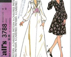 Vntg McCall's 3788 Misses Dress Pattern, Long Dress, Above Knee Length, Size 18, Bust 40, UNCUT