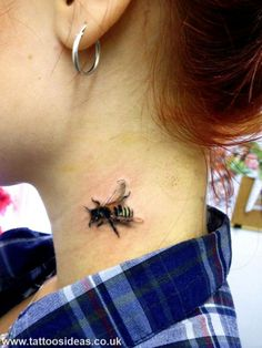 3D little bee in the neck tattoo
