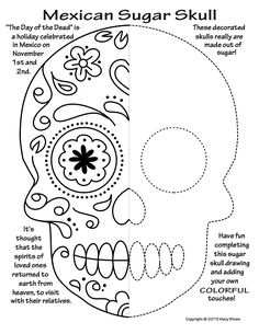20 unique activities your kids will love! October, Day of the Dead, sugar skulls, symmetry, Halloween, art and classroom sub lessons.