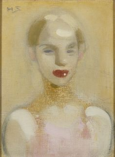 Circus Girl - 1916 - by Helene Schjerfbeck - Oil on canvas - 43.00x36.50cm. - Ateneum Art Museum