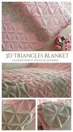 Crochet Triangle Pattern, Crochet Throw Pattern, Crochet Heart Blanket, Afghan Crochet Patterns, Crochet Squares, Crochet Motif, Crochet Designs, Free Heart Crochet Pattern, Free Crochet Square