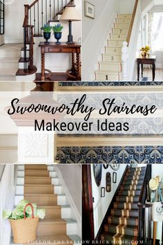 Step up your decor with a beautiful staircase makeover! Check out these swoonworthy staircase makeover ideas featuring stenciled and painted staircases. Stenciled Stairs, Painted Stairs, Wooden Stairs, Craftsman Staircase, Wallpaper Stairs, Farmhouse Stairs, Painted Staircases, Traditional Staircase, Staircase Remodel