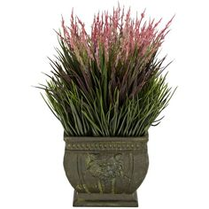 Mixed Grass Indoor-Outdoor Faux Plant in a Roman Vase ($50) ❤ liked on Polyvore featuring home, home decor, floral decor, flowers, home accessories, watering pot, flower pots, flower stems, flower home decor and flower watering pot
