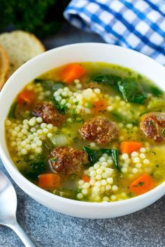 Wedding Soup Recipes With Meatballs.Italian Wedding Soup Once Upon A Chef. Italian Wedding Soup Recipe SimplyRecipes Com. Meatball Soup, Meatball Recipes, Beef Recipes, Soup Recipes, Cooking Recipes, Kid Cooking, Pasta Recipes, Salad Recipes, Healthy Recipes