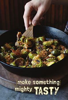 Caramelized Brussel Sprouts –  cheese, bacon and breadcrumbs