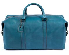 Signature Blue w/ Pink Stitching Leather Duffle / Duffel Bag by Fox Archer - Real Leather Duffle Weekend Holdall Travel Gym Bag by FoxArcher on Etsy https://www.etsy.com/listing/477470172/signature-blue-w-pink-stitching-leather