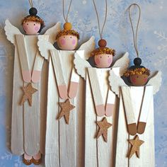 Angel Ornament Wood Christmas Tree Decoration. Popsicle Craft Stick Angels. Set of 4 Folk Art Prim Ornie. Primitive Xmas Tree Hanger