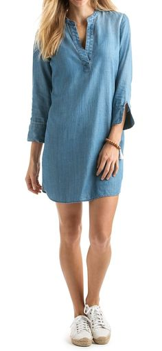 0e12e4a1d00 Chambray Tunic Shirt Dress - mens navy blue long sleeve shirt