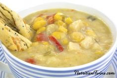 Creamy Corn Chowder | Only 153 Calories | Creamy & Rich, Healthy & Dairy Free | For MORE RECIPES, Fitness & Nutrition Tips please SIGN UP for our FREE NEWSLETTER www.NutritionTwins.com