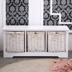 White Wooden Storage Bench Large Baskets Hallway Bathroom Unit Home Furniture in Home, Furniture & DIY, Storage Solutions, Storage Units Wooden Storage Bench, Storage Baskets, Storage Units, Diy Storage, Bathroom Storage, Painted Cupboards, Glass Cabinets, Large Baskets, Storage Solutions