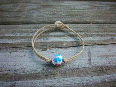 Upcycled Bracelet Hemp Bracelet Floral Bracelet by ThreadedChains
