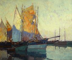 Edgar Payne (1883-1947). Sailboats at Anchor. Oil on canvas. 25 1/4 x 30 1/4 in.