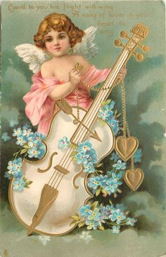 Full Sized Image: CUPID TO YOU HIS FLIGHT WILL WING A SONG OF LOVE IN YOUR HEART TO SING cupid supports large cello, blue forget-me-nots - TuckDB Valentine Images, Vintage Valentine Cards, Vintage Greeting Cards, Vintage Ephemera, Vintage Postcards, Victorian Angels, New Year Pictures, Victorian Valentines, Vintage Christmas Images