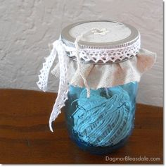 Dagmar's Home: cute yarn dispenser made with a blue Ball Heritage Collection jar. Pin this to your boards with hashtag #heritageblue for a chance to win a jam maker and case of these jars!