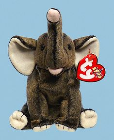 Trumpet, Ty Beanie Baby elephant, reference information and photograph. Beanie Bears, Ty Beanie Boos, Plush Animals, Zoo Animals, Baby Elephant, Giraffe, Elephants, Valuable Beanie Babies, Ty Babies