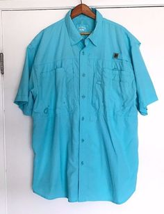 Reel Legends Button Front Fishing Shirt. Blue, 100% Polyester in excellent used condition, no rips, tears, or stains. SIZE: XL. | eBay!
