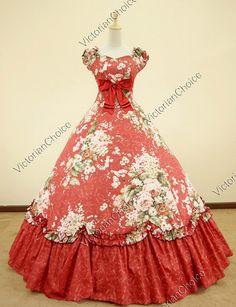 Southern Belle Civil War Cotton Floral Print Gown Dress Reenactment.  Eat your heart out, Scarlet!
