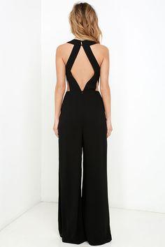 Back to Me Black Backless Jumpsuit at Lulus.com!