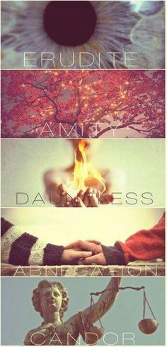 Erudite- Intelligence Amity- Respect Dauntless- Brave Abnegation- Selflessness Candor- Honesty