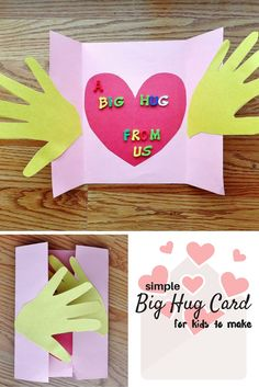 A Big Hug Card Craft for Kids is part of Kids Crafts Ideas Cards - A Big Hug Card craft for kids simple card to show they care about someone Sympathy Card Mother's Day Card, Grandparents Day, Father's Day Valentines Grandparents Day Crafts, Mothers Day Crafts For Kids, Fathers Day Crafts, Valentine Day Crafts, Holiday Crafts, Gifts For Kids, Valentines, Cards For Kids, Grandparent Gifts