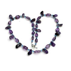 Purple and Blue Amethyst Handmade Necklace by ALFAdesigns on Etsy